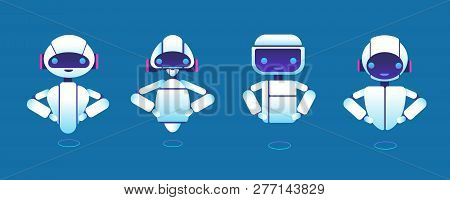 Cute Chatbots. Robot Assistant, Chatter Bot, Helper Chatbot Vector Cartoon Characters. Illustration