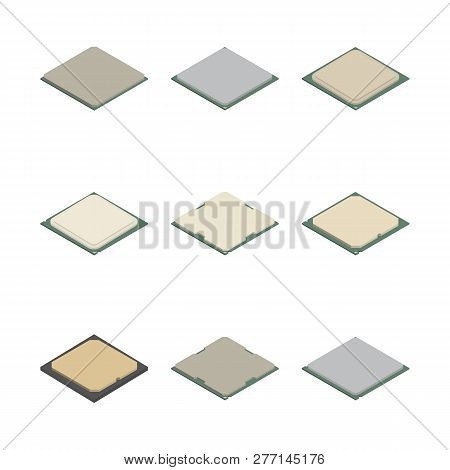 Set Of Processors Of Different Shapes Isolated On White Background. Elements Design Of Electronic Co