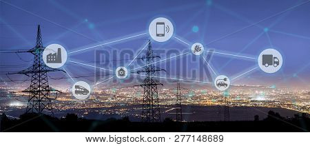 High Power Electricity Poles In Urban Area Connected To Smart Grid. Energy Supply, Distribution Of E
