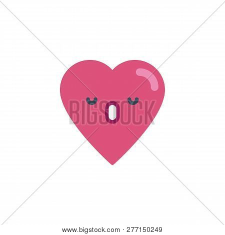 Dormant Heart Face Character Emoji Flat Icon, Vector Sign, Colorful Pictogram Isolated On White. Sle