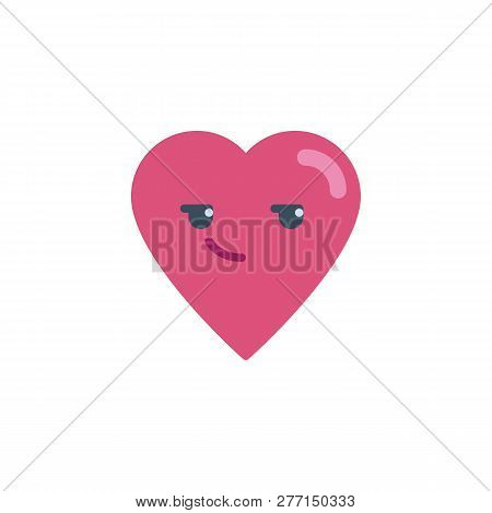 Smirking Heart Face Character Emoji Flat Icon, Vector Sign, Colorful Pictogram Isolated On White. Sm