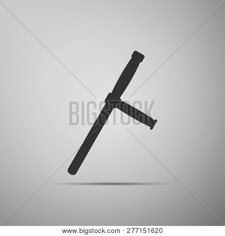 Police Rubber Baton Icon Isolated On Grey Background. Rubber Truncheon. Police Bat. Police Equipment