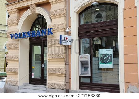 Subotica, Serbia - August 12, 2012: Volksbank Bank Branch In Subotica, Serbia. There Are 30 Commerci
