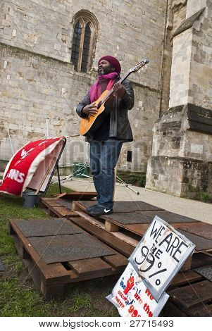 Kouatchou Performing In Front Of Exeter Cathedral As Part Of An Afternoon Of Music And Performace At