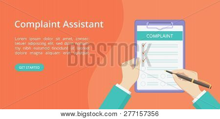 Complaint Form On Clipboard With Hands Landing Page Concept. Online Assistant Service Website Page V
