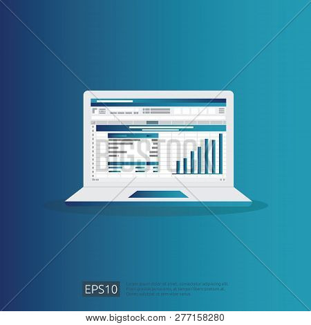 Seo Data Analytic, Spreadsheet On Screen. Business Finance Analysis Audit With Graphs Charts. Return