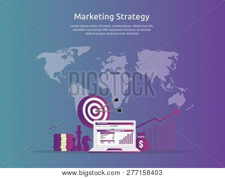 Marketing Strategy Spreadsheet On Screen. Business Finance Analysis Audit With Graphs Charts. Return