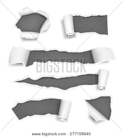Paper Holes Ripped. Promoted Rips Torn Pages Cut Edge Of Paper And Notes Vector Realistic Template.