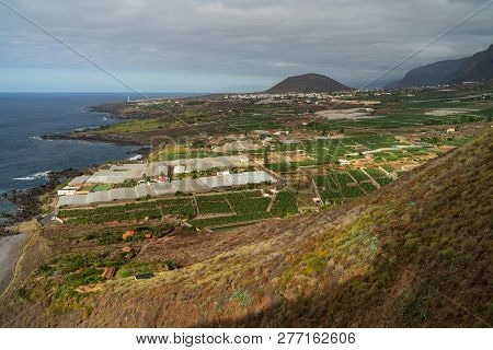 View Of The Seaside Town Of Buenavista Del Norte And The Atlantic Ocean. Tenerife. Canary Islands. S