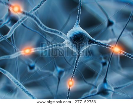 3d Illustration Of Neuron Cells Or Nerve System. Synapse And Neuron Cells Sending Electrical Chemica