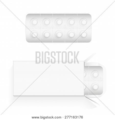 White Round Pills In A Blister. Open Cardboard Packaging With A Blister Inside. Place For Text Or Br