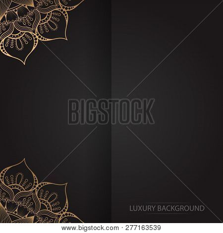 Gold Vintage Greeting Card On A Black Background. Luxury Vector Ornament Template. Mandala. Great Fo