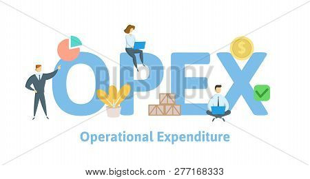 Opex, Operational Expenditure. Concept With Keywords, Letters And Icons. Flat Vector Illustration. I