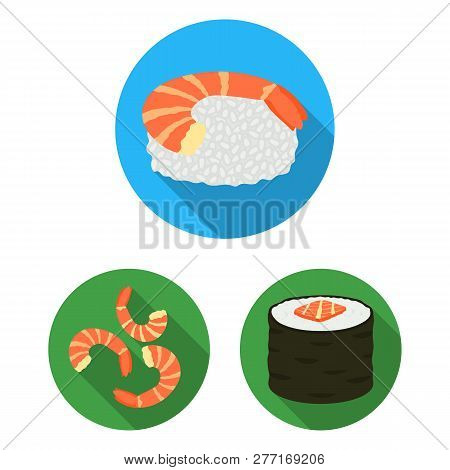 Isolated Object Of Sushi And Fish Icon. Collection Of Sushi And Cuisine Vector Icon For Stock.