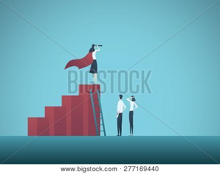 Business Objective, Goal Or Target Vector Concept. Team Of Business People Working Together. Symbol