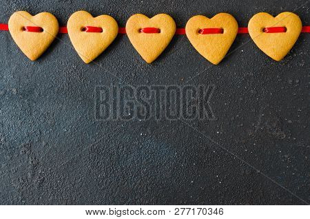 Valentine's Day Greeting Card With Gingerbread Cookies In The Shape Of A Heart.