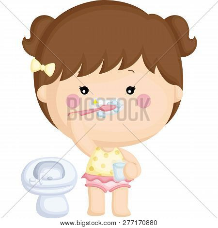 A Vector Set Of A Little Girl Brushing Her Teeth