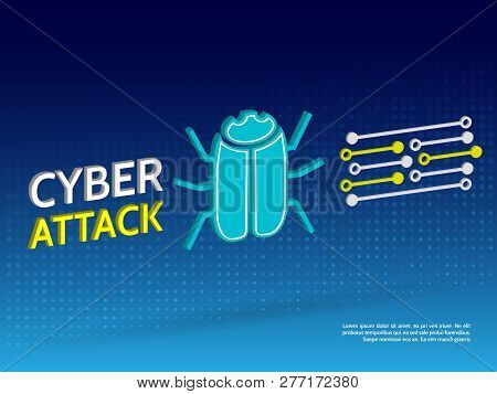 Cyber Security Concept. Attack Of Intruders On The Network. Isometric Hacker Bug Vector Illustration