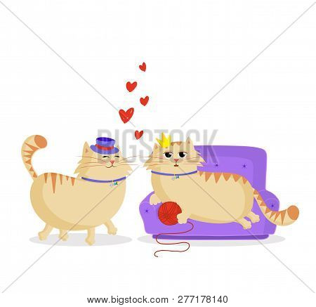 Cute Cartoon Couple Of Cats In Love. Male And Female Kittens In Love. Boyfriend Cat In Top Hat And G