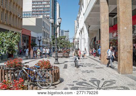 Curitiba - Pr, Brazil - December 14, 2018: Downtown Street Xv De Novembro. Rua Das Flores. Touristic