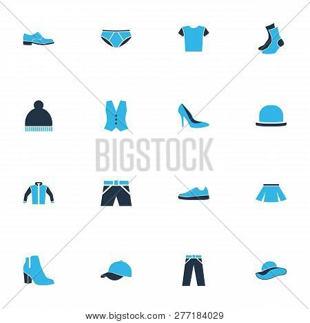 Garment Icons Colored Set With Pompom, Fedora, Panama And Other Jacket Elements. Isolated Vector Ill