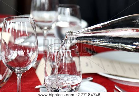 Glass Of Water And Bottle Pour Water In Glass, Cold Water, Water Drink