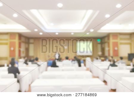 Blurred Of Empty Meeting Room, Dining Room, Ballroom, Seminar Room For Background