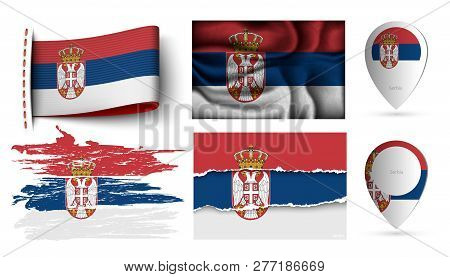 Set Of Serbia Flags Collection Isolated On White