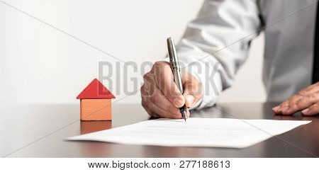 Concept For Signing Real Estate Contract In Office
