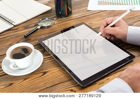 White Empty Computer Or Digital Tablet Screen With Available Copy Space