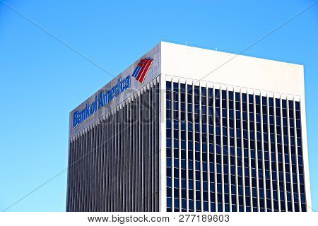 Downtown Las Vegas, Nv, Usa - Sep 16, 2018: Sign Of The Bank Of America On The Top Of The Company Bu