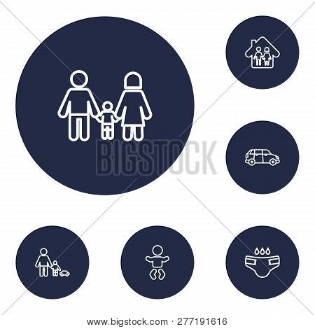 Set Of 6 Family Icons Line Style Set. Collection Of Nappy, Automobile, Relatives And Other Elements.
