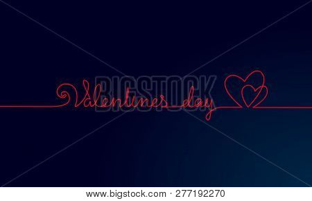 Happy Valentine Day Continuous One Line Art. Hand Drawn Sketch Romantic Date Greeing Holiday Card. T
