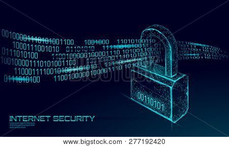 Cyber Safety Padlock On Data Mass. Internet Security Lock Information Privacy Low Poly Polygonal Fut
