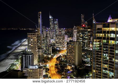 Gold Coast, Australia - November 24 2018: Surfers Paradise Nightscape Arial Views