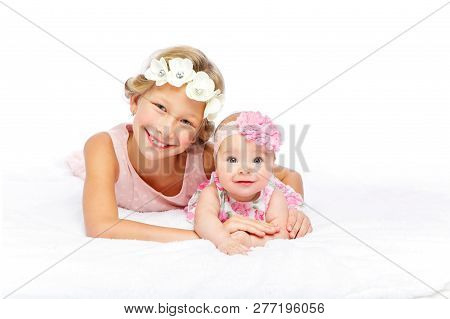 Happy Beautiful Girl With Baby Baby Sister