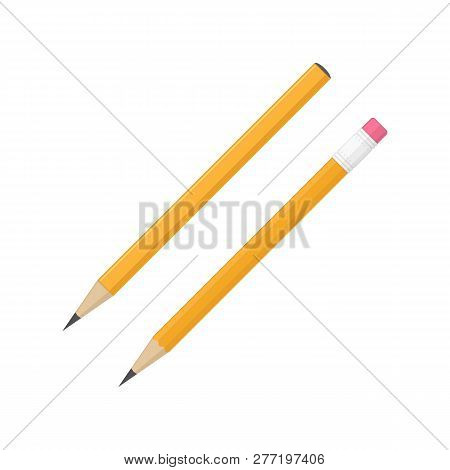 Pencil Icon Set In Flat Style. Two Wooden Pencils Isolated On White Background. Orange Pencil With A