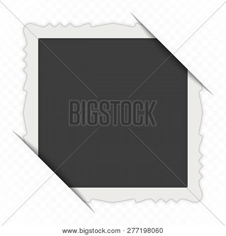 Vintage Photo Frame With Cropped Corner Isolated On Transparent Background. Vector Blank Photo Frame