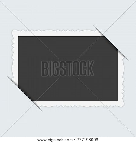 Vintage Photo Frame With Cropped Corner Isolated On White Background. Vector Blank Photo Framework W