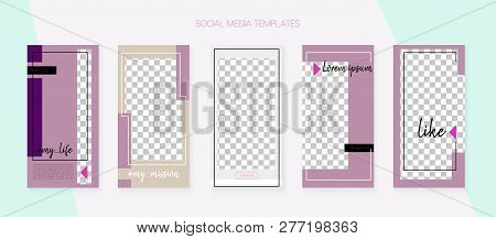 Social Media Stories Smm Template. Blogger Concept Vector Set. Graphic Mobile Design Pack. Tech App
