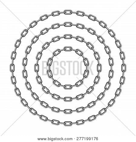 Black Round Chain Set Isolated On White Background. Black Circle Chain Pattern Various Sizes. Vintag