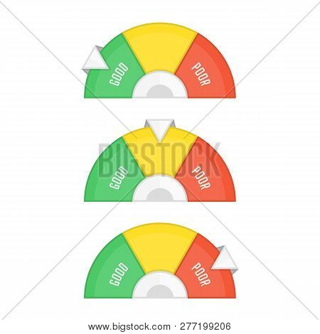 Credit Score Indicators Or Gauges Set. Business Manometer Icon In Flat Style. Financial History Asse