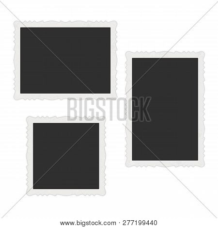 Collection Of Vector Blank Photo Frames With Shadow Effects Isolated On White Background. Photoreali