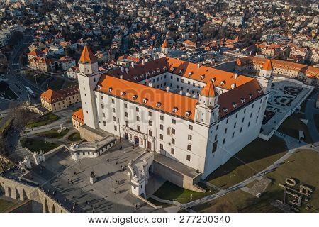 Aerial View Of Bratislavsky Hrad In Bratislava, Slovakia