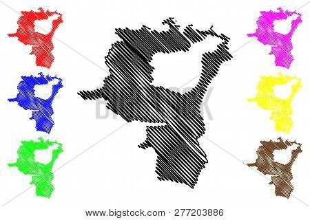 St. Gallen (cantons Of Switzerland, Swiss Cantons, Swiss Confederation) Map Vector Illustration, Scr