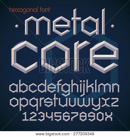 Hexagonal Futuristic Metallic Beveled Bold Font. Vector Alphabet Illustration Of English Letters And