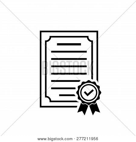 Vector Certificate Icon With Rosette And Check. Black Achievement Symbol In Flat Style Isolated On W