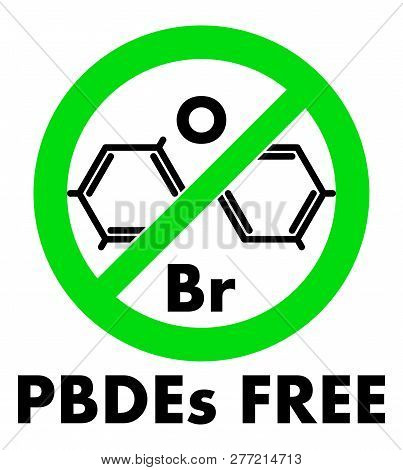 Pbdes Free Icon. Polybrominated Diphenyl Ethers Chemical Molecule And Letters Br And O (chemical Sym
