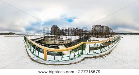 Full Seamless Spherical Winter Panorama 360 Degrees Angle View Near The Dam Of Wide Lake. 360 Panora