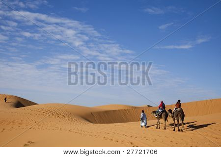 Sand Desert with Dunes in Marocco, merzouga
